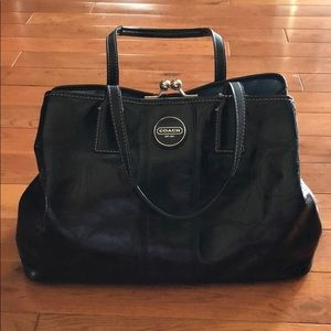 Shiny Black Coach Purse